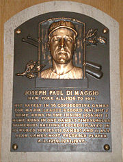 Joe DiMaggio's plaque at the Baseball Hall of Fame.