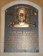 Joe DiMaggio's plaque at the Baseball Hall of Fame.