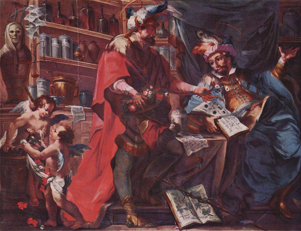 Saints Côme et Damien, médecins, par Johann Anwander (1762), église de l'Assomption (Dillingen).