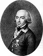 Black-and-white print shows a man in a plain gray military coat with only one decoration, the Order of Maria Theresa. He has a cleft chin, dark eyebrows and light-colored hair that is curled at the ears in 18th century fashion.