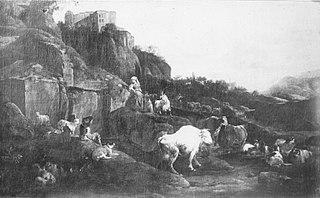 Italienische Ruinenlandschaft mit Vieh