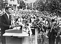 John F. Kennedy speaking at Springwood, the Roosevelt home in Hyde Park, New York (1960).jpg