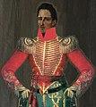 José María Córdova. Anónimo, usando la guerrera, chaqueta de guerra roja que utilizo en la batalla del santuario.jpg