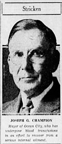 Joseph G. Champion, mayor of Ocean City, New Jersey in the Philadelphia Inquirer on November 5, 1935.jpg