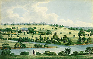 Elizabeth Farm - Romanticised painting of Elizabeth Farm viewed from the northern riverbank of Parramatta River. Joseph Lycett based this on sketches and his memories and painted it on his return to England.