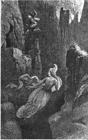 Huldufólk - Engraving of a man jumping after a female elf into a precipice.