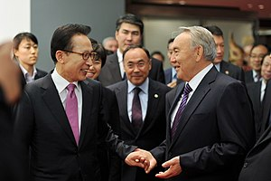 Nursultan Nazarbayev - Nazarbayev with Lee Myung-bak in Seoul, 2010.