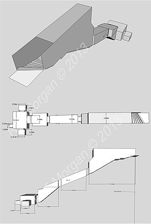 KV16 - Isometric, plan and elevation images of KV16 taken from a 3d model