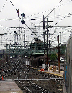 "Northeast Corridor - ""K"" Tower, north of Washington Union Station, is the only remaining interlocking tower on the Northeast Corridor south of Philadelphia"