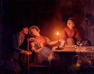 Candle light - interior with peddler