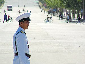 Crime in North Korea - A North Korean policeman overseeing road traffic in Kaesong, North Korea, 2008.