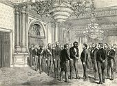 Drawing of men at a formal gathering greeting each other