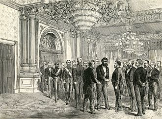 Kalākaua - Illustration of Kalākaua's state dinner at the White House, meeting with President Ulysses S. Grant.