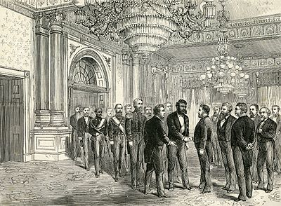King Kalakaua of Hawaii meets President Grant at the White House on his state visit, 1874. Published January 2, 1875 Kalakaua Grant state visit 1874.jpg
