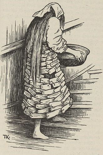 Katie Woodencloak - An illustration by Theodor Kittelsen of Katie dressed in her wooden clothing.