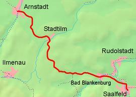 Strecke der Bahnstrecke Arnstadt–Saalfeld