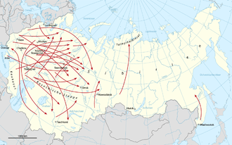 General deportation currents of the dekulakization 1930-1931 Karte Entkulakisierung.png