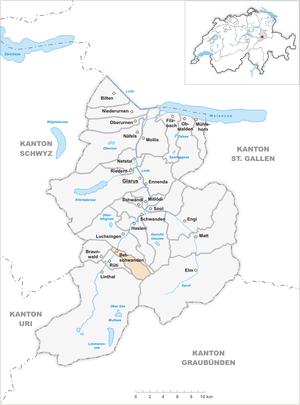 Betschwanden - Image: Karte Gemeinde Betschwanden 2007