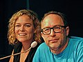 Katherine Maher the executive director of the Wikimedia Foundation and Jimmy Wales co founder of Wikipedia, in Esino Lario, Italy-retouched.jpg