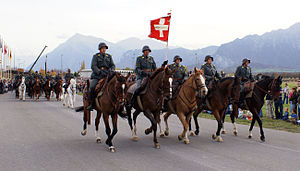 Swiss Armed Forces - Veterans' traditional Cavalry squadron 2006 presenting the uniform of 1972
