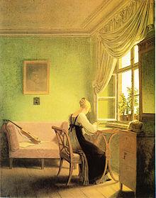 """Louise Seidler als """"Die Stickerin"""" auf einem Gemälde von Georg Friedrich Kersting (2. Fassung 1817) (Quelle: Wikimedia)"""