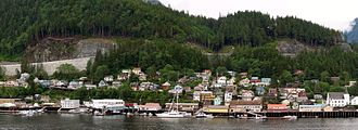 Ketchikan, Alaska - Ketchikan's Newtown neighborhood, between Downtown and the West End, its two largest neighborhoods. First Lutheran Church, at the right edge of this photo, is listed on the National Register of Historic Places.  East of the church (beyond view of the photo), three adjoining streets were named Warren, G and Harding following President Harding's visit to Alaska in 1923.