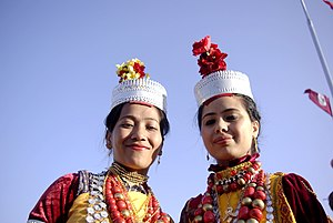 English: Two Khasi girls in traditional dress ...