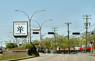 """Kirkland, Quebec - """"Welcome to Kirkland"""" sign viewed from St. Charles Blvd (heading north)"""