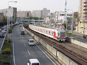 Kita-Osaka Kyuko Railway - Kita-Osaka Kyuko 8000 series train (between Momoyamadai Station and Senri-Chūō Station)