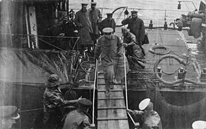 HMS Iron Duke (1912) - Field Marshal Herbert Kitchener boarding Iron Duke on 5 June 1916