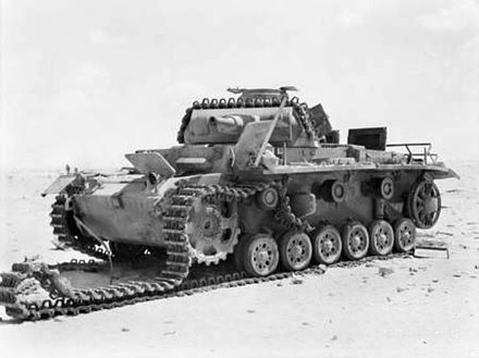 Knocked out Panzer III near El Alamein, 1942 Knocked out Panzer III near El Alamein 1942.jpg