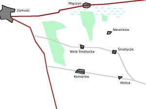 Battle of Komarów - Area of the battlefield