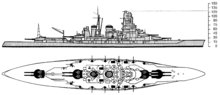 an American intelligence drawing of Haruna from the starboard side, giving particular shaded emphasis to her main and secondary guns