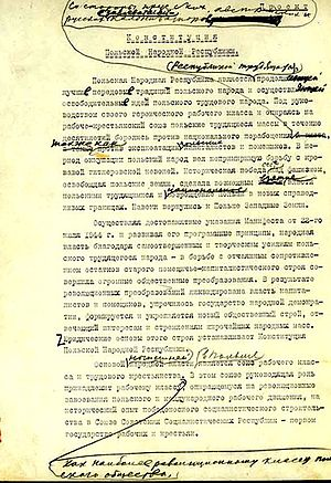 Constitution of the Polish People's Republic - Draft of constitution (in Russian) with personal Stalin remarks