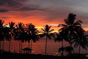 Tropics - Tropical sunset over the sea in Kota Kinabalu, Malaysia
