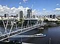Kurilpa Bridge and South Brisbane seen from level 10 of North Quay building, Brisbane.jpg