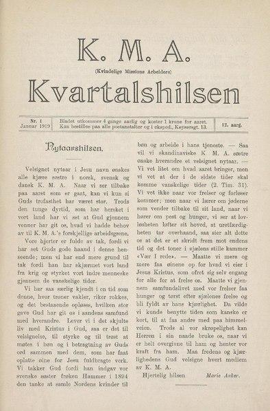 File:Kvartalshilsen (Kvinnelige misjonsarbeidere). 1919 Vol. 12 nr. 1.pdf
