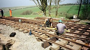 Lynton and Barnstaple Railway - Laying track, Woody Bay, 2003