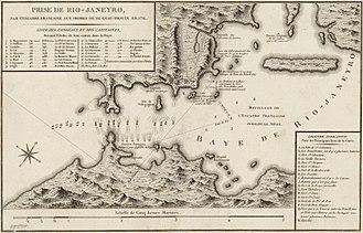 Battle of Rio de Janeiro - Sketch of the battle by Duguay-Trouin