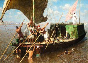 Léon Belly - Image: Léon Belly La dahabieh engravée, Égypte (1877)