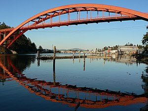 La Conner, Washington - La Conner's Rainbow Bridge crossing the Swinomish Channel
