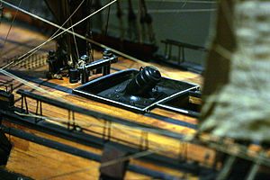 Bomb vessel - Model of a mortar aboard the Foudroyante, a bomb vessel of the 1800s