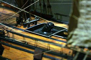 Bomb vessel - Model of a mortar aboard the Foudroyante, a bomb vessel of the 1800s