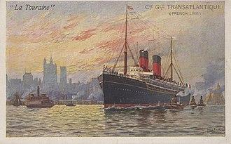SS La Touraine - La Touraine leaving port