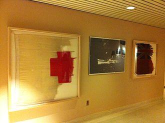 RMS Lady Nelson - Lady Nelson hospital ship flag at Stadacona Hospital CFB Halifax