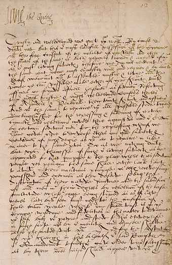 "Official letter of Lady Jane Grey signing herself as ""Jane the Quene"". Inner Temple Library, London. Lady Jane Grey letter as Queen.JPG"