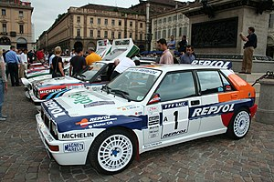 Carlos Sainz - A Replica of an ex-Sainz Lancia Delta HF Integrale during Lancia centenary celebrations in Turin.