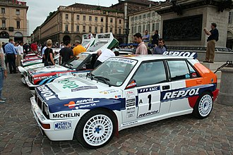 Jolly Club - Carlos Sainz's and the Jolly Club team's 1993 Lancia Delta HF Integrale at the Lancia centenary celebrations in Turin in 2006.