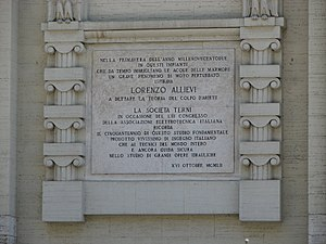Lorenzo Allievi - Lorenzo Allievi memorial plaque