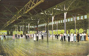 "Dance hall - A postcard from the early 20th century, showing the dance pavilion on Cedar Point, Ohio, built in 1882, and labelled ""The largest Dance Floor on Lake Erie""."
